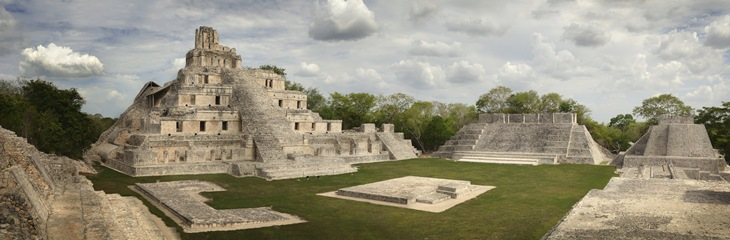 Maya Edzna complex, the Temple five floors. Yucatan, Campeche, M
